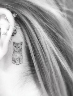 Cat Tattoo Behind Ear by Doctor Woo