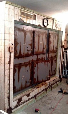 (8 foot 3 section six door morgue great idea pic for replicating! Love the rust detail on the doors.