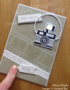The camera in the new hostess set, Pun Intended, lends itself to have an LED 'flash', triggered by a push function at the bottom of the card. I first used LED elements, in my November swaps. Fancy Fold Cards, Folded Cards, Cool Cards, Diy Cards, Camera Cards, Led, Interactive Cards, Up Book, Stampin Up Catalog