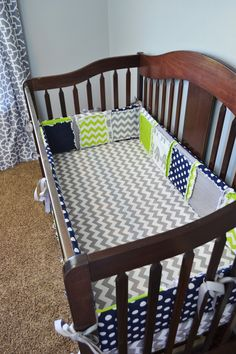 Custom Crib Set Gray Elephant, Navy Blue Chevron, Grey, and Lime Green for Baby Boy, Handmade! Includes Bumpers, Quilt, Sheet, and Skirt