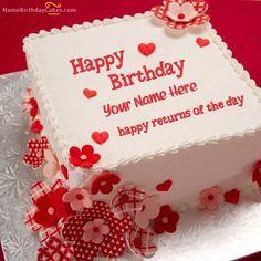 Write Name On Cake, Birthday Cake Write Name, Birthday Cake Greetings, Happy Birthday Wishes Cake, Happy Birthday My Love, Cake Name, Beautiful Birthday Cakes, Cool Birthday Cakes, Happy Birthday Cake Writing