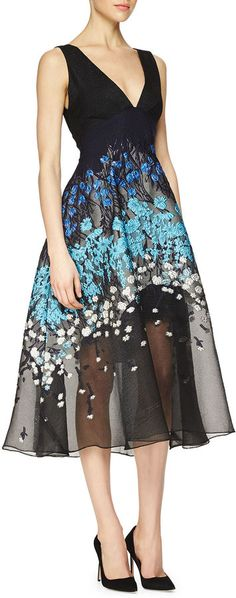 Lela Rose #2015 | Crinkled crepe and textured woven dress with floral embroidery