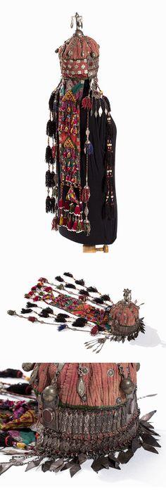 Turkmenistan / Afghanistan | Turkomen wedding headdress; quilted cotton, glass beads, carnelians, metal and silver.  L:  102 cm | ca. 19th - 20th century | Est. 1'280 - 1'600€ ~ (Apr '15)