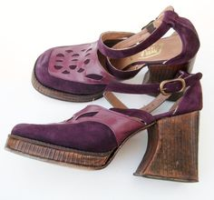 Vintage 60s 70s Groovy Disco Diva Purple Leather & Suede Platform High Heels Ankle Strap Shoes 8From hillbillyfilly