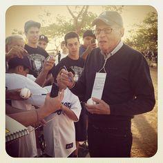 Longtime Dodgers supporter Larry King visiting Spring Training in Glendale, Arizona (taken Mar 10, 2012)