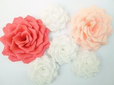 6 Giant Paper Flowers/Giant Paper Roses/Wedding by LandofFlowers