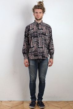90s Aztec Abstract Printed Shirt - Vintage Shirts - Men's - TPH Arcade