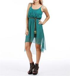 Spaghetti Straps Chiffon Scoop Neckline Belted Dress