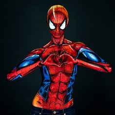 Incredibly Realistic Marvel Comic Characters Revealed Through Body Painting - My Modern Met