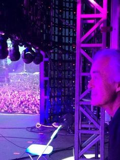 Jimmy Page at the side of the stage, watching Black Sabbath perform in Hyde Park. July 4, 2014.