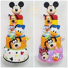 Ideas Cake Desing Compleanno Topolino For 2019 Bolo Mickey Baby, Bolo Do Mickey Mouse, Mickey Mouse First Birthday, Mickey Mouse Clubhouse Birthday Party, Minnie Cake, Mickey Cakes, Mickey Party, Mickey Mouse And Friends, Minnie Mouse
