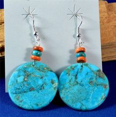 NATIVE AMERICAN SANTO DOMINGO INDIAN JEWELRY TURQUOISE SLAB EARRINGS L. LOVATO