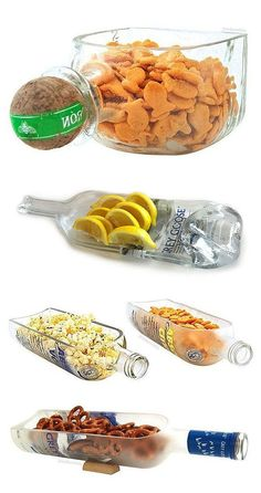 glas in loos Liquor Bottle Snack Bowl - awesome recycling DIY idea for the… Liquor Bottle Crafts, Alcohol Bottles, Bottles And Jars, Glass Bottles, Empty Liquor Bottles, Vodka Bottle, Home Crafts, Fun Crafts, Bottle Cutting