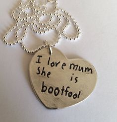 {personalized} jewelry that is made from your child's handwriting