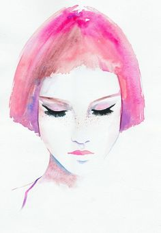 Rosa pelo chica impresión, Ilustración de moda, Ilustración de moda de la acuarela, chica con pecas, grabado de moda, moda cartel
