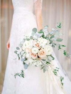 Brides: Rose Bouquet with Eucalyptus and Jasmine. Jasmine and leafy eucalyptus f… Brides: Rose Bouquet with Eucalyptus and Jasmine. Jasmine and leafy eucalyptus freshen up this classic blush and white rose bouquet by… Ranunculus Wedding Bouquet, Spring Wedding Bouquets, Bride Bouquets, White Ranunculus, White Roses, Blush Bouquet, Cascading Bridal Bouquets, White Peonies, Blush Roses