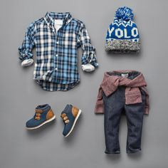 Boy's Clothing | Kid's Fashion | Button-Down Shirt | Denim Jeans | Sweatshirt | Pom Pom Hat | Shoes | The Children's Place