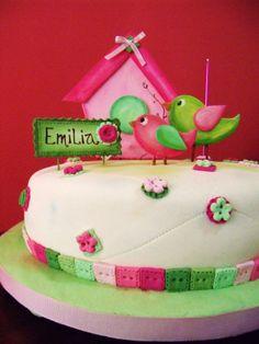 Torta Pajaritos! en fucsia y verde!