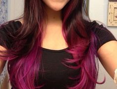 red hair with fuchsia ends - Google Search