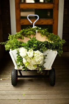 For the flower girl to ride in! omg so cute, great for a young flower girl that might be uncooperative!