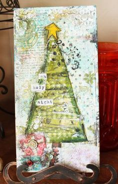 Christmas Mixed Media Canvas Tutorial