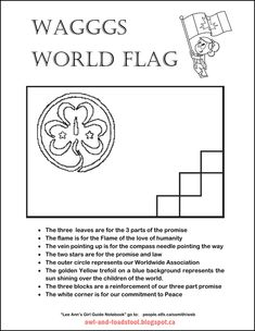 World Association of Girl Guides and Girl Scouts/WAGGGS World Flag coloring page Brownies Girl Guides, Brownie Guides, Girl Scout Leader, Girl Scout Troop, Brownie Meeting Ideas, Brownies Activities, Guide Badges, Girl Scout Activities, Flag Coloring Pages