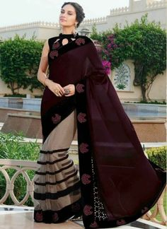 Catchy Wine And Off White Georgette Net Designer Saree. Online Buy Fancy Saree At Gujarat. Saree Designs Party Wear, Party Wear Sarees, Fancy Blouse Designs, Sari Blouse Designs, Indian Designer Outfits, Indian Outfits, Sari Design, Saree Dress, Saree Blouse