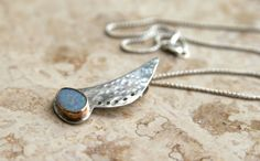 Hammered Sterling Silver and Opal Necklace by KMallaby on Etsy, $140.00