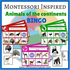 MONTESSORI INSPIRED ANIMALS OF THE CONTINENTS BINGOBingo Contains:- 28 different bingo boards with 3 boards and ten animals for each of the seven continents:Asia, Africa, North America, South America, Europe, Africa, Australia/Oceania and Antarctica. - large labeled draw cards for the bingo caller - bingo covers print outsI also invite you to check out North America Resource Pack:NORTH AMERICA UNIT MONTESSORI EDUCATIONAL RESOURCE PACK AND:SOUTH AMERICA UNIT MONTESSORI EDUCATIONAL RESOURCE…