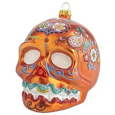 Sugar Skull Glass Ornament - Orange