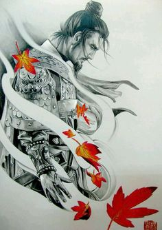 Samurai Tattoo Design - Sie Trendy - Tattoos -You can find Samurai and more on our website. Japanese Tattoo Art, Japanese Sleeve Tattoos, Japanese Art, Japanese Prints, Japanese Warrior Tattoo, Japanese Dragon, Ronin Samurai, Samurai Warrior, Ninja Warrior