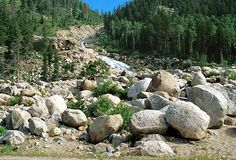 Boulders at the base of the Lawn Lake alluvial fan in Rocky Mountain National Park, Colorado, www.RevWill.com