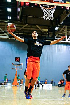 New player for the Southland Sharks, Tai Wesley warming up prior to the game against Manawatu Jets at Stadium Southland.  June 07, 2014.   Sharks won 91-83.
