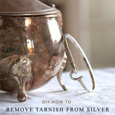 #Tip: To remove light #tarnish from #silver #flatware for #Thanksgiving (and even sturdier #jewelry), place the tarnished pieces in an aluminum-lined pan, sprinkle 1/2 to 1 cup of #bakingsoda over the pieces, then pour enough hot water to cover them. Once tarnish disappears, remove silver and buff with a soft cotton cloth. #DIY #cleaning #Heirlume     **Be wary of doing this with antique heirloom pieces as this could hurt the value of silver. Always test with a smaller piece first.