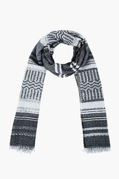 Neil Barrett Grey Woven Peruvian Pattern Scarf for men   SSENSE
