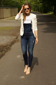 Be Kind T-Shirt + Denim Overalls + White Blazers White Blazers, Zara Heels, Denim Overalls, Hipster, Inspirational, T Shirt, Pants, How To Wear, Style