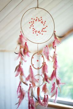 Wall hanging dream catcher, Pink dream catcher, Baby girl dream catcher, Boho…                                                                                                                                                                                 More