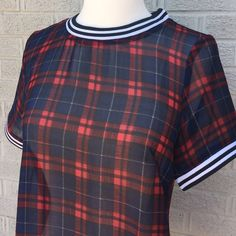 Lac Bleu Plaid Sheer Top with Striped Details Lac Bleu Plaid Sheer Top with Striped Details on sleeves & neckline! Love this look tucked in with skinnies & a belt! So fun! Size Small. Previously loved, worn once! Lac Bleu Tops Blouses