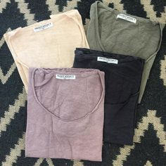 """The Scooped Easy Tee from @projectsocialt is here in 4 wonderful colors! Short-sleeve, raw edges, 100% linen and MADE IN U.S.A.  Sizes XS-L, $54.…"""