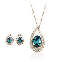 Мода ювелирные изделия акции большой синий камень проложить с горный хрусталь комплект ювелирных изделий