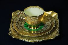 TUSCAN PLANT ENGLAND - TEACUP & SAUCER, plus SIDE PATE & CAKE PLATE