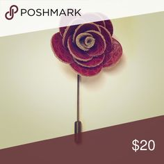 "Handmade Red Leather Rose Lapel Pin. One left  This is a beautiful handcrafted Red Leather Rose Lapel Pin. Only one left.... has a brass pin. Length: 3"", Width: 1.5"" The Modern Gallant Accessories"