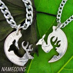 Buck and Doe Necklace Relationship with fine STAINLESS STEEL CHAINS, Interlocking Love Quarter,Couples Puzzle, hand cut coin