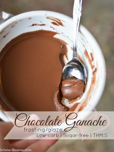 Chocolate Ganache Frosting/Glaze {Low-carb, Sugar-free, THM:S} - made with unsweetened almond milk instead of heavy cream