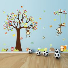 Vinyl Removable Nursery Wall Art Decor Wallpaper Squirrel Monkeys Owl Tree Wall Decals for Baby Kids Room Decorative Peel & Stick Wall Stickers