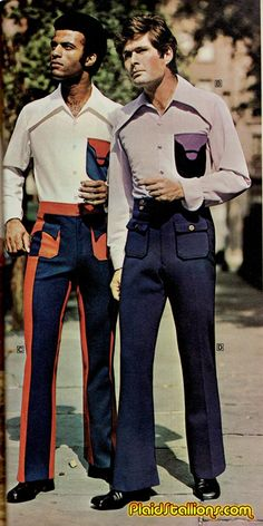 I just love how the shirt pockets relate to the pants pockets. How clever was that designer? 1970s spliced polyester shirt and trouser ensembles.