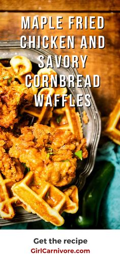 Hands down the best fried chicken and waffles recipe out there. A mix of heat and sticky-sweet maple syrup coats this buttermilk fried chicken as it sits over savory cornbread waffles. Best Chicken And Waffle Recipe, Easy Waffle Recipe, Waffle Maker Recipes, Brunch Recipes, Breakfast Recipes, Dinner Recipes, Mexican Breakfast, Pancake Recipes, Crepe Recipes