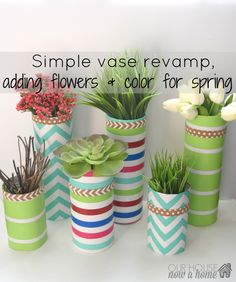 Simple vase update using wrapping paper-Decorating for spring with silk flowers, succulents, and glass vases. All that was needed for this upcycle was wrapping paper! A simple DIY craft for the home! How to decorate a home with low cost ideas, crafts, DIY and tutorials.