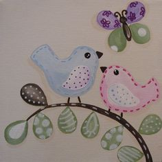 Penelope Owl Birds and Butterflies Canvas set 10x10 by myartsybaby