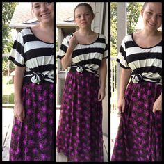 Lularoe Lucy and oversized Classic T pattern mixing